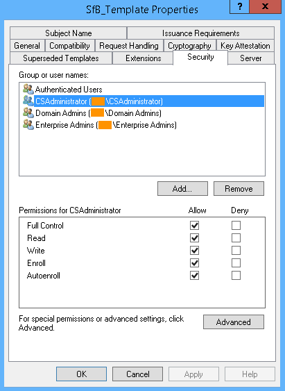 Request-CsCertificate – Command execution failed: Denied by Policy