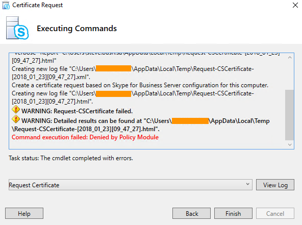 Request cscertificate command execution failed denied by policy denied by policy module deniedbypolicymoduleerror i am specifying a custom template called sfbtemplate yadclub
