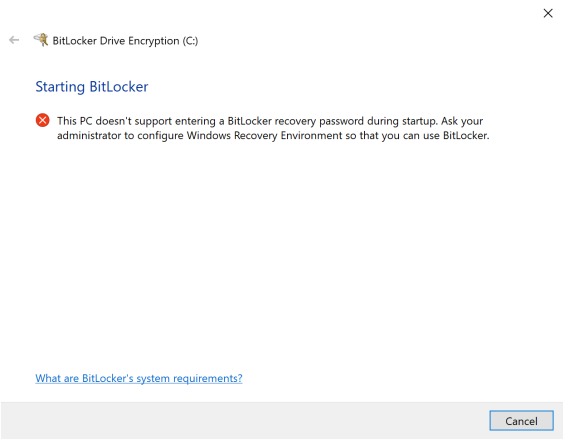 This PC doesn't support entering a BitLocker recovery